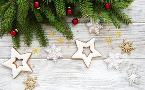 Picture decoration, New Year, Christmas, christmas, wood, merry, decoration, fir tree, fir-tree branches