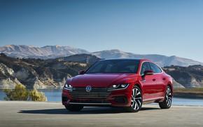 Picture red, Volkswagen, in the Parking lot, liftback, Arteon, 2019, SEL Premium R-Line