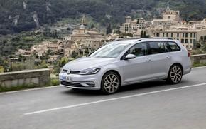 Picture asphalt, Volkswagen, settlement, universal, 2017, Golf Variant, white-gray