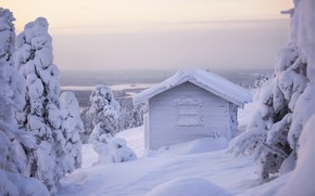 Picture winter, forest, white, the sky, snow, nature, house, in the snow, view, hut, height, mountain, …