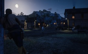 Picture HDR, City, Moon, Sky, Stars, Night, Game, Valentine, Rocks, Trees, Lamps, UHD, Red Dead Redemption …