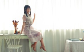 Picture look, table, dress, Asian, sitting