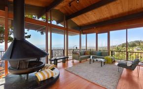 Picture furniture, Villa, interior, oven, Berkeley midcentury, open terrace
