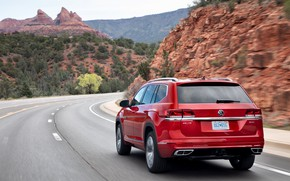 Picture red, movement, Volkswagen, back, SUV, Atlas, 2020