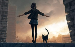 Picture girl, the ruined city, black jacket, from the back, black cat, cloudy sky, hand in …