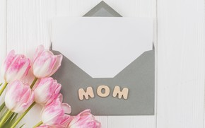 Picture bouquet, tulips, the envelope, congratulations, Mother's Day