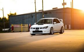 Picture Subaru, Impreza, WRX, STI, Sunset, White, Evening, Sight