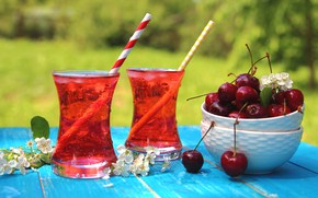 Picture cherry, glass, lemonade