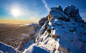 Picture winter, forest, the sun, snow, mountains, view, height, Evdokimov Sergey