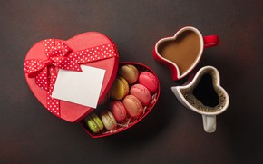 Picture box, coffee, Cup, heart, macaron