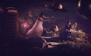 Picture girl, night, planet, guy, photoart