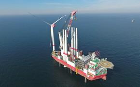 Picture sea, energy, engineering, wind turbine