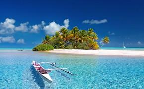 Picture Paradise, Blue, Wallpaper, Summer, Ocean, Island, Boat