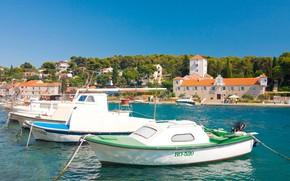 Picture sea, Marina, boats, Croatia, island of Solta, town Maslinica, Šolta, Maslinica