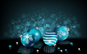 Picture reflection, background, holiday, balls, toys, new year