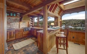 Picture interior, kitchen, view, bay, kitchen