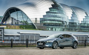 Picture road, auto, the building, Mazda, Hatchback, Skyactiv-G