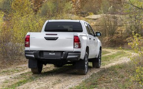 Picture white, vegetation, Toyota, body, pickup, Hilux, Special Edition, tail lights, 2019