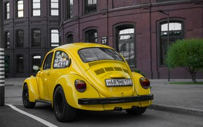 Picture yellow, tuning, beetle, volkswagen, yellow, Volkswagen, beetle, vag, yellow car, kaffer, 1303s, morendi