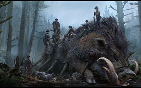 Picture murder, hunting, beast, boar, Hunting