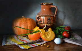 Picture table, egg, bow, knife, dishes, pumpkin, pitcher, still life, vegetables, tomatoes