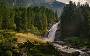 Picture forest, landscape, nature, river, waterfall, beauty
