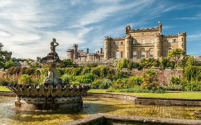 Picture castle, Scotland, fountain, fortress, Scotland, Culzean Castle, Ayrshire
