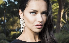 Picture look, girl, face, earrings, lips, Adriana Lima