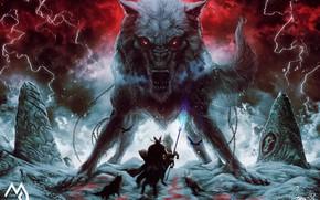 Picture Winter, Figure, Warrior, Mouth, Wolf, Zipper, Battle, Fantasy, Mythology, Art, Fenrir, Fiction, Wolf, Illustration, Fenrir, …