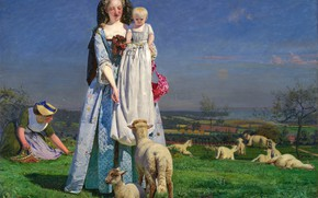Picture Ford Madox Brown, Adorable lambs, 1850s