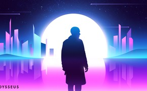 Picture The sun, Night, Music, The city, Silhouette, Tokyo, Fantasy, Art, Neon, Concept Art, Odysseus, Synth, …