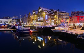 Picture winter, snow, night, lights, home, pier, Norway, lights, Bay, promenade, Tromso