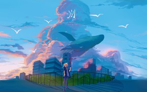 Picture road, the sky, girl, birds, the city, fantasy, kit