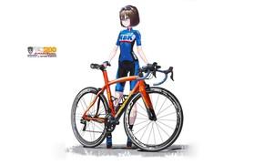 Picture Girl, White background, Bike