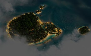 Picture Islands, night, lights, height, Nature, Landscape, Sea, Island, Trees, CGI, digital Art