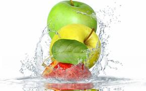 Wallpaper leaves, water, squirt, apples