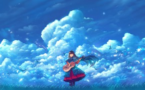Picture the sky, girl, clouds, birds, guitar