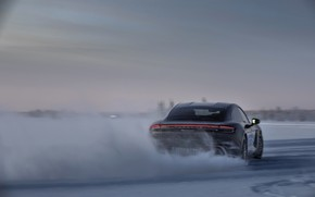Picture snow, black, ice, Porsche, back, track, 2020, Taycan, Taycan 4S