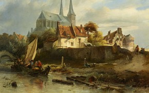 Picture Dutch artist, oil on canvas, St Nicholas Church in Deventer in stormy weather, Salomon Leonardus …