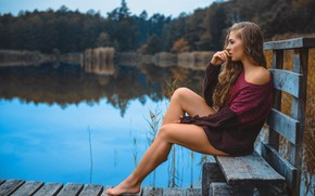 Picture girl, bench, lake, mood, feet, Claudia Jagodzinska, Sebastian Preus