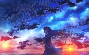 Picture sunset, the city, schoolgirl, starry sky