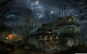 Picture rock, lightning, construction, Call of Duty, laboratory