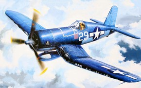 Picture Corsair, Chance Vought, single carrier-based fighter, F4U-1