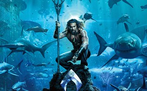 Wallpaper sea, blue, fiction, stone, the bottom, logo, corals, Trident, tattoo, sharks, poster, under water, comic, ...