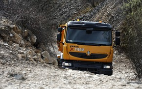 Picture orange, stones, truck, Renault, the ground, dump truck, 8x4, four-axle, Renault Trucks, Kerax