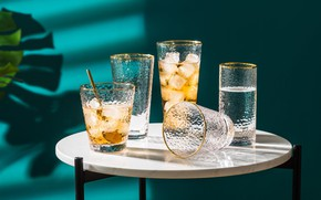 Picture glass, leaves, light, table, glasses, spoon, cocktail, shadows, glasses, drink, table, ice cubes, refreshing