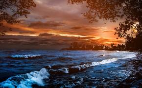 Picture sea, night, shore