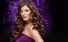 Picture purple, look, girl, face, hair, beautiful, bokeh, Anna Chipovskaya