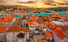 Picture sea, home, roof, Croatia, Trogir