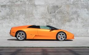 Picture Supercar, Side View, Orange Car, Lamborghini Murcielago Roadster
